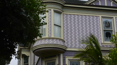 San Francisco California sections of old Victorian homes with windows and color Stock Footage