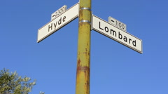 San Francisco California road sign of famous Hyde Street and Lombard Street - stock footage