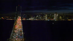 San Francisco California skyline and the Oakland Bay Bridge at evening with Arkistovideo