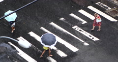 Street in Copacabana, Rio de Janeiro, Brazil. Crossing. Pedestrian, umbrella Stock Footage