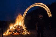 Zagovezni fire ritual - stock photo