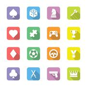 colorful flat game icon set on rounded rectangle with shadow - stock illustration