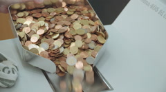 coins counters in a bank - stock footage