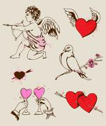 Hand drawn Valentine's element - stock illustration