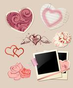 Valentine`s Day scrapbook - stock illustration