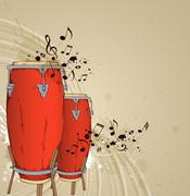 Red drums - stock illustration