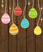 Wooden Easter background Stock Illustration