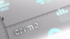 Crime decreasing chart, statistic and data Stock Footage