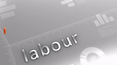 Labour decreasing chart, statistic and data Stock Footage