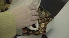 Euro coin counter in a bank Stock Footage