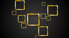 Golden squares on black background video animation Stock Footage