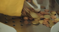 Euro coin counter in a bank - stock footage