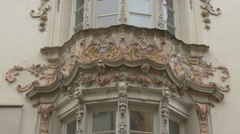 Beautiful bas relief on the balcony of Helbling Haus in Innsbruck Stock Footage