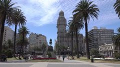 Independence Square with Palacio Salvo building, Montevideo, Uruguay Stock Footage