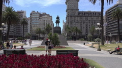 Tourists visit Independence Square, Montevideo, Uruguay - stock footage