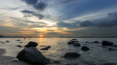 Time lapse of moving clouds and river at sunset in Punggol Singapore 4k uhd Stock Footage