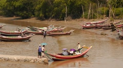 Small boat take passenger for transportation - Myanmar Stock Footage