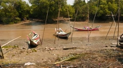 Traditional Myanmar boats on a small river near Yangon Stock Footage