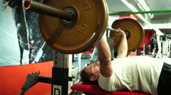 Bench press in powerlifting style Stock Footage
