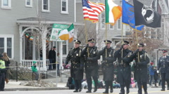 Boston Police Flag Bearers - stock footage