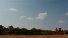 Old Bagan hyperlapse city life with Shwezigon Pagoda view afar Stock Footage