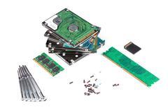 Electronic scrap on white Stock Photos