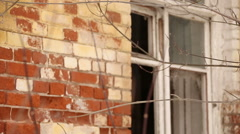 Shabby brick wall of historical buildings Stock Footage