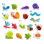 Insect And Leaves Collection - stock illustration