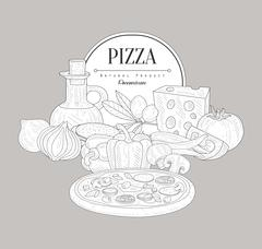 Pizza Ingredients Vintage Sketch - stock illustration