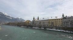 Stock Video Footage of Inn River and riverside buildings in Innsbruck