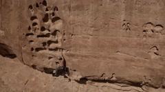 Panning Aerial Shot of Rock Climber near Moab, Utah - stock footage