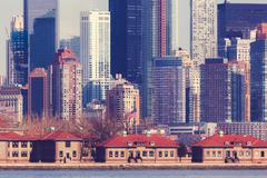 Lower Manhattan and Ellis Island Stock Photos