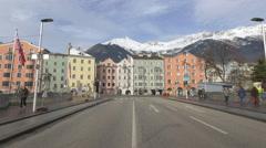 Bridge over Inn River near Innerstresse in Innsbruck Stock Footage