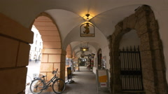 View of shops at an old building on Herzog-Friedrich-Strasse, Innsbruck Stock Footage