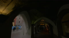 Buildings on Herzog-Friedrich-Strasse seen from under an arch, Innsbruck Stock Footage