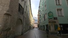 View of people walking on Hofgasse street in Innsbruck Stock Footage