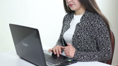 business woman using laptop and search info to internet waist shot - stock footage