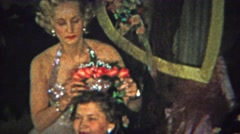 1965: Adult sorority sisters rose tiara crowning ceremony ritual. Stock Footage