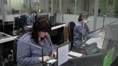 Team working at emergency service call center - stock footage