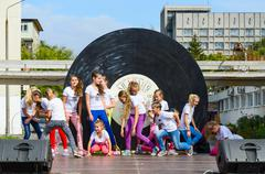 Performance of group of children outdoors during City Day, Belarus Stock Photos