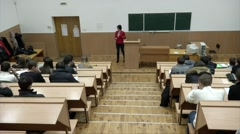 Students listening to their teacher at the lecture in university Arkistovideo