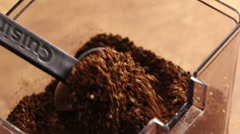 Scooping Fresh Coffee Grounds Stock Footage
