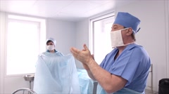 Preparations before the surgery operation  in a hospital Stock Footage