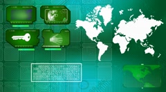 World - Digital Monitor - Scanning Info - green Stock Footage