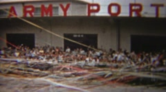 1954: US Army Port Celebration paper streamer waves parade farewell. Stock Footage