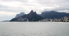 Beach in Rio de Janeiro, Brazil. Famous Ipanema, Brasil. Morro Dois Irmaos. Stock Footage