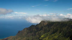 Kalalau Valley Motion Time Lapse from Puu o Kila Lookout, Kauai, Hawaii Stock Footage