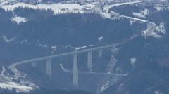 The Europa Bridge (Europabrücke) over the Wipp valley near Innsbruck Stock Footage