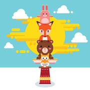 Cute Animal Totem Pole - stock illustration