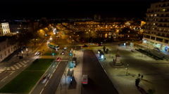 Place Lorraine in Angers France Night Timelapse Stock Footage